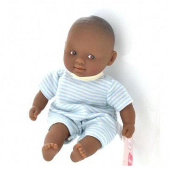 "Picture of Les Minis ""Calin Gracieux""  - African American baby with blue and white outfit"