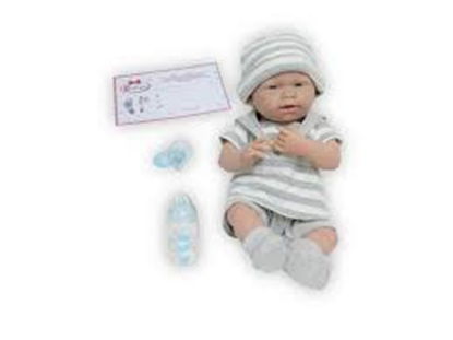Picture of La Newborn Real Boy in Gray Stripes - 15 inches