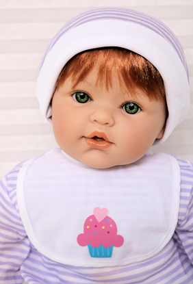 Picture of Magic Baby - Red Hair, Green Eyes in Purple/White Onsie
