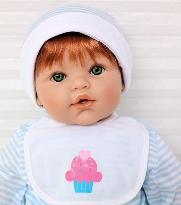 Picture of Magic Baby - Red Hair, Green Eyes in Blue/White Onsie