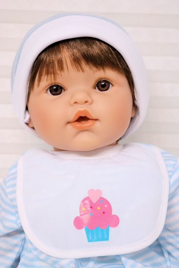 Picture of Magic Baby 3-2 - Brown Hair, Blue Eyes in Blue/White Onsie
