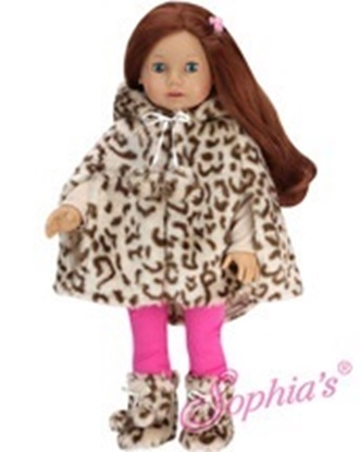 Picture of Animal Print Fur Cape and Matching Boots - fits most 18 inch dolls
