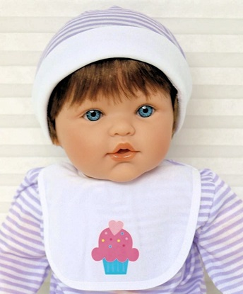 Picture of Magic Baby 3-3 - Brown Hair, Blue Eyes in Purple/White Onsie