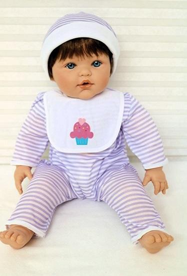 Picture of Magic Baby 3-3 - Brown Hair, Blue Eyes in Purple/White Onsie