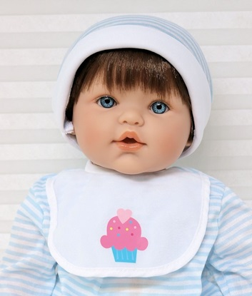 Picture of Magic Baby - Brown Hair, Blue Eyes in Blue/White Onsie