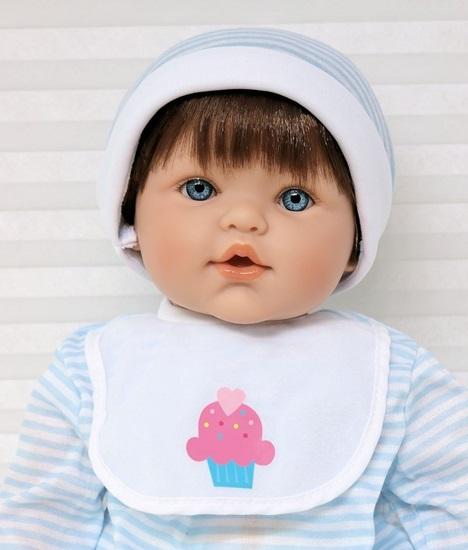 Picture of Magic Baby - Brown Hair, Blue Eyes in Blue/White Onsie