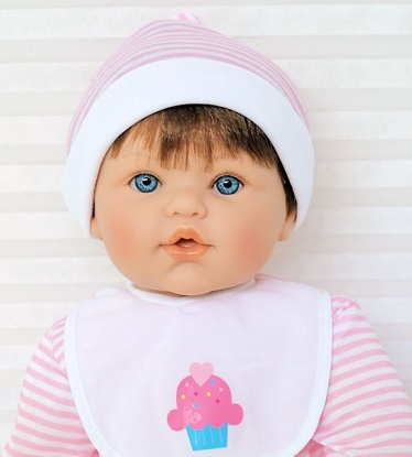 Picture of Magic Baby - Brown Hair, Blue Eyes in Pink/White Onsie