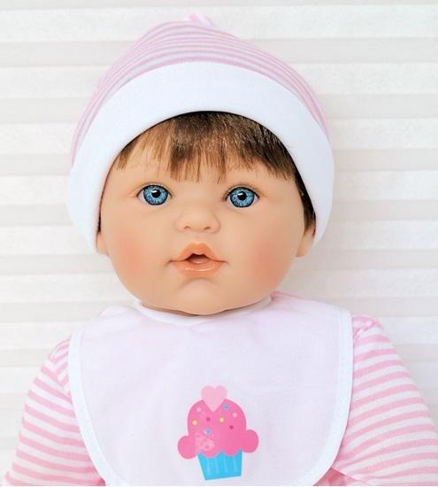 Picture of Magic Baby - Brown Hair, Blue Eyes in Pink/White Onsie