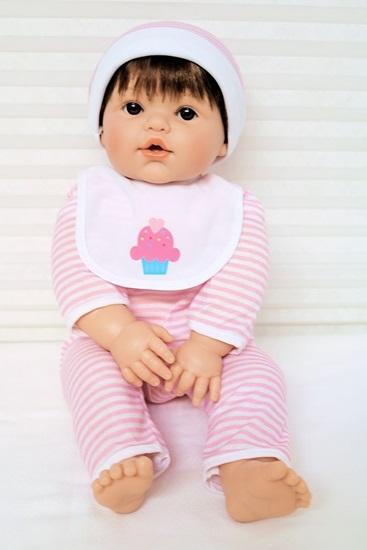 Picture of Magic Baby - Brown Hair, Brown Eyes in Pink/White Onsie