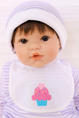 Picture of Magic Baby 1-3 - Brown Hair, Brown Eyes in Purple/White Onsie