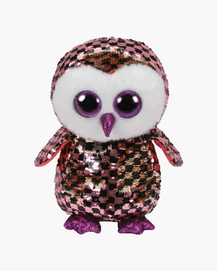 "Picture of ""Checks"" the Owl - Flippables- Medium Sequin  Plush - New in 2019"