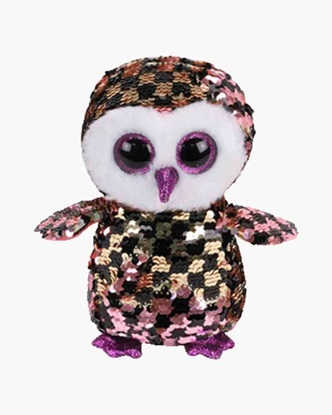 """Picture of """"Checks"""" the Owl - Flippables- Small Sequin  Plush - New in 2019"""