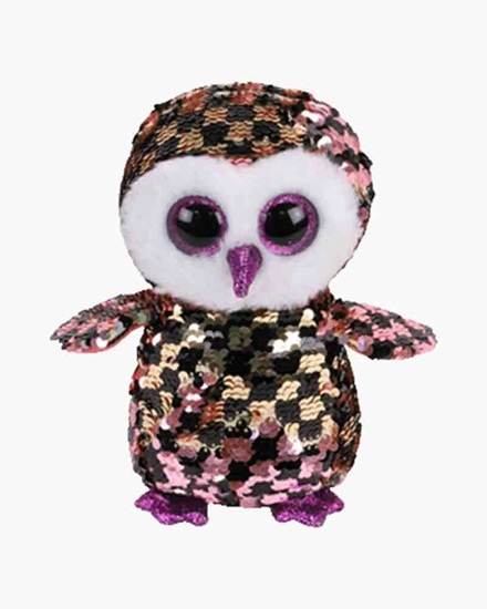 "Picture of ""Checks"" the Owl - Flippables- Small Sequin  Plush - New in 2019"