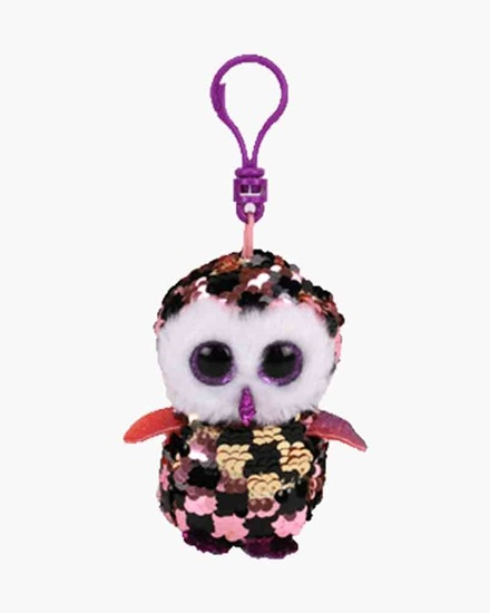 """Picture of """"Checks"""" the Owl- Flippables - Sequin Plush Key Rings - New in 2019"""