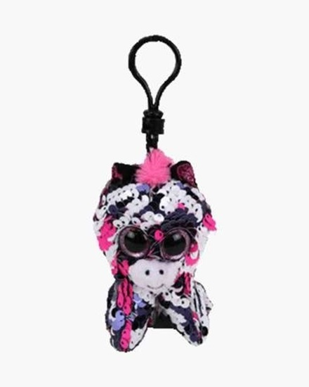 """Picture of """"Zoey"""" the Zebra- Flippables - Sequin Plush Key Rings - New in 2019"""