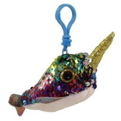 "Picture of ""Calypso "" the Narwahl Flippables - Sequin Plush Key Rings - New in 2019"