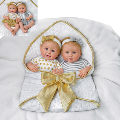 "Picture of ""Silver & Gold"" - Soft Silicone Twins - Cloth Body - New in 2019"
