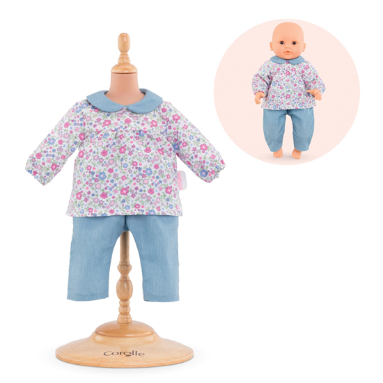 Picture of Flowered Blouse and Pant Outfit for 12 Inch Baby Doll