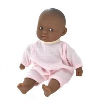 "Picture of Les Minis ""Calin Graceful""  - African American baby with pink and white outfit"